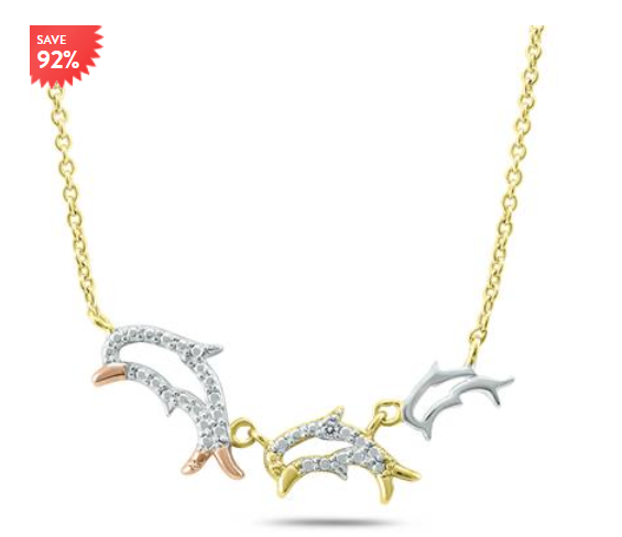 92 Percent off Dolphin Necklace Gold Plated Sterling Silver